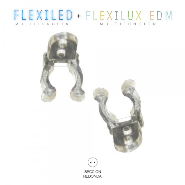 clip para tubo flexilux/flexiled  2  y 3 vias edm