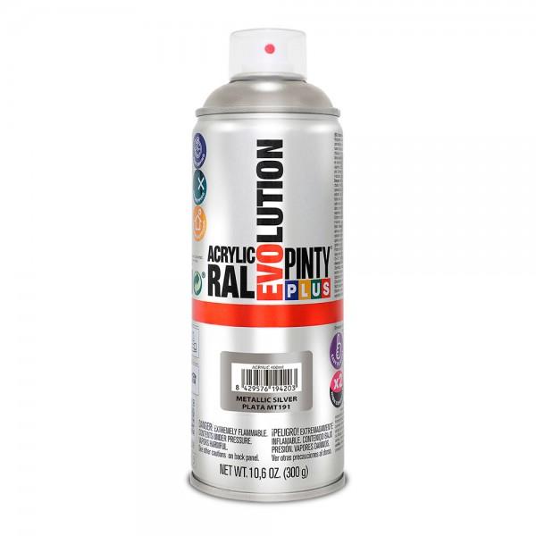 Pintura en spray pintyplus evolution metalizada 520cc plata mt191
